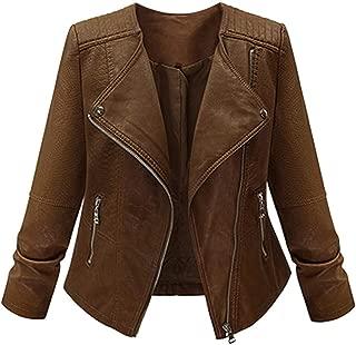 Women's Long Sleeve Zipper Winter Outwear Jacket Plus Size Faux Leather Moto Biker Short Coat Jacket for Women (XXXXXL, Brown)