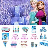 Nidezon Frozen Elsa Birthday Party Supplies Pack, Princess Birthday Party Decorations 160 Pieces For 10 Guests With Plates, Napkins, Tablecover, Cups, backdrop, table cloth,invitation card-Serves 10 Guest.