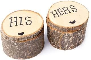 Giga Gud Wooden Rustic Wedding Ring Bearer Box, Wedding Ring Bearer,Ring Box,Hand Write Hers & His Jewelry Boxes (2 PCS)