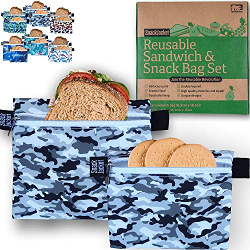 SnackJacket Reusable Sandwich & Snack Bags - Set of 2 Zero Waste Food Storage Bags - Double Layer, Waterproof and Eco Friendly Lunch Bags - Alternative to Plastic, Paper Bags or Cling Film - Football