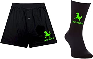 pretty little customs Printed Mens Boxers/Socks Set- Daddysaurus Dino Dinosaur - Father's Day