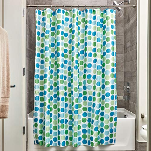 InterDesign Rialto Duschvorhang aus Stoff | 183 cm x 183 cm Duschabtrennung für Badewanne & Duschwanne | Textil Duschvorhang mit Punkten | Polyester grün