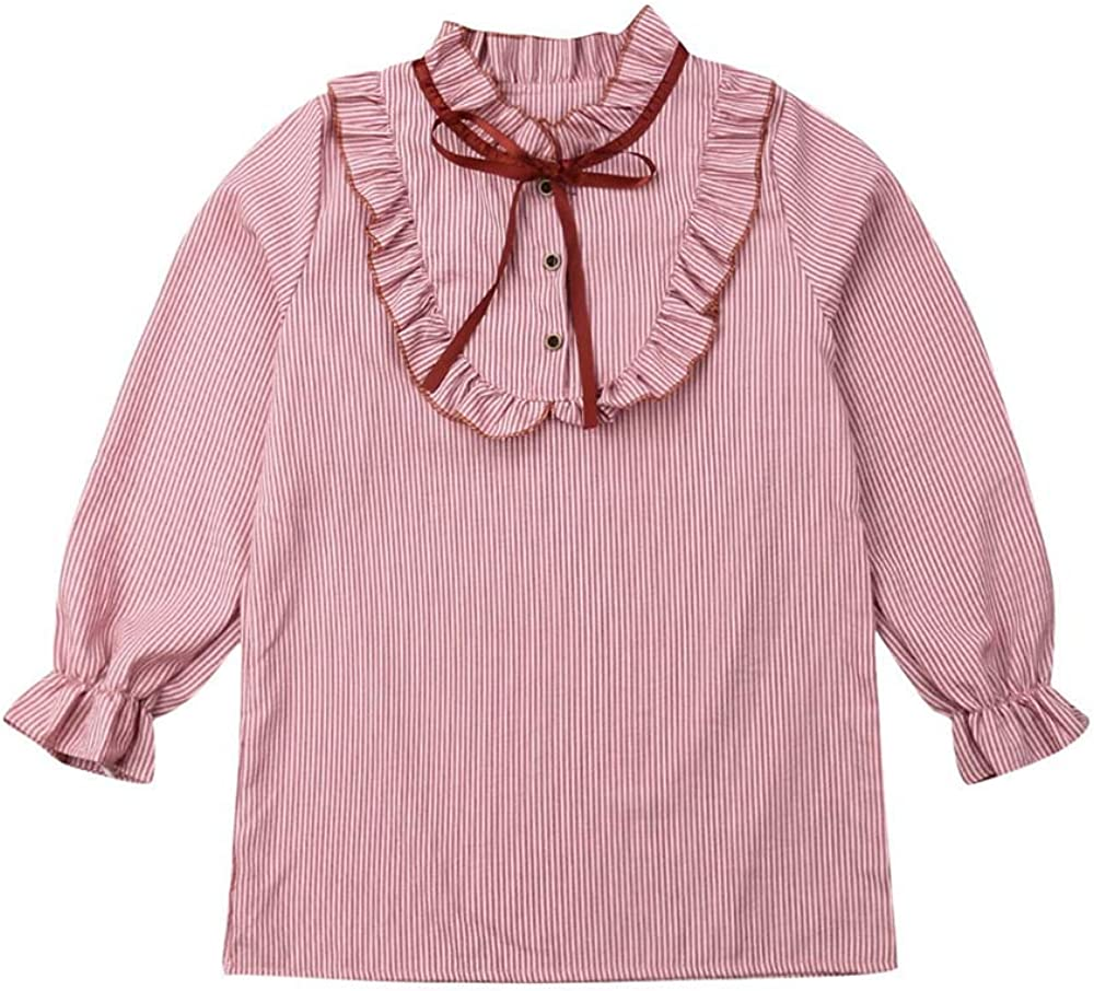 Girls Long Sleeve Blouse Ruffle Button Down Shirts Princess Party Clothes Loose Tops Bowknot Uniform 4-14T