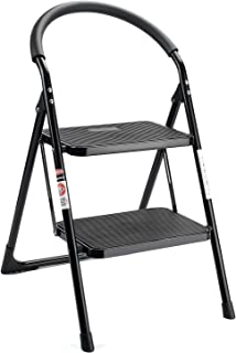 ACSTEP Step Ladder Folding Step Stool Ladder Handgrip Anti-Slip and Wide Pedal Sturdy Steel Ladder 330lbs White and Black Combo (3 feet) (3 Step Ladder) (2 Step Ladder)