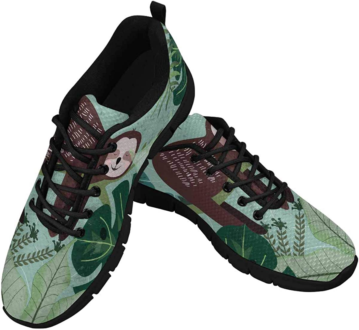 INTERESTPRINT Tropical Summer Sloth Bear Toucan Palm Trees Lightweight Mesh Breathable Sneakers for Women