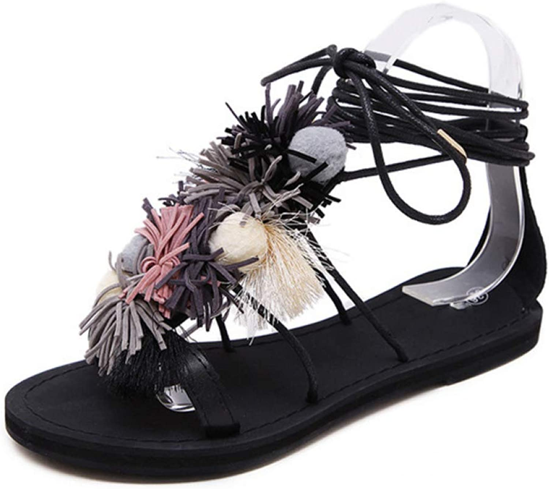 Btrada Womens Flat Heels Summer Beach Casual Pompon shoes Ankle Cross Strap Ethnic Bohemian Sandals