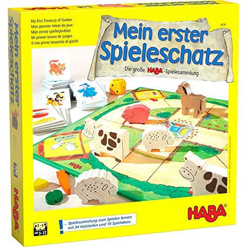 Haba 4278 - Mein erster Spieleschatz Die große Haba-Spielesammlung, 10 unterhaltsame Brett-, Memo- und Kartenspiele ab 3 Jahren in einer Packung, Kindgerechtes Spielmaterial aus Holz