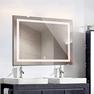 XIPUDA Wall-Mounted Vanity Mirror, Bathroom LED Light Mirror, 40x32 Inch Frame-Less Illuminated Make-Up Touch Switch