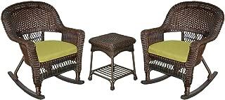 Jeco 3 Piece Rocker Wicker Chair Set With With Green Cushion, Espresso