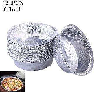TTBD 12in Durable Rond en Aluminium jetable Feuille récipient pan étain Domdeckel Feuille Plateau de Barbecue,6 Pouces