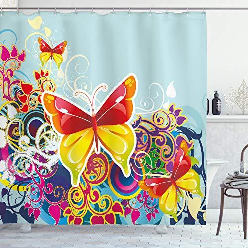 ABAKUHAUS Bunt Duschvorhang, Schmetterlinge Blumen, Klare Farben aus Stoff inkl.12 Haken Farbfest Schimmel & Wasser Resistent, 175 x 200 cm, Multicolor