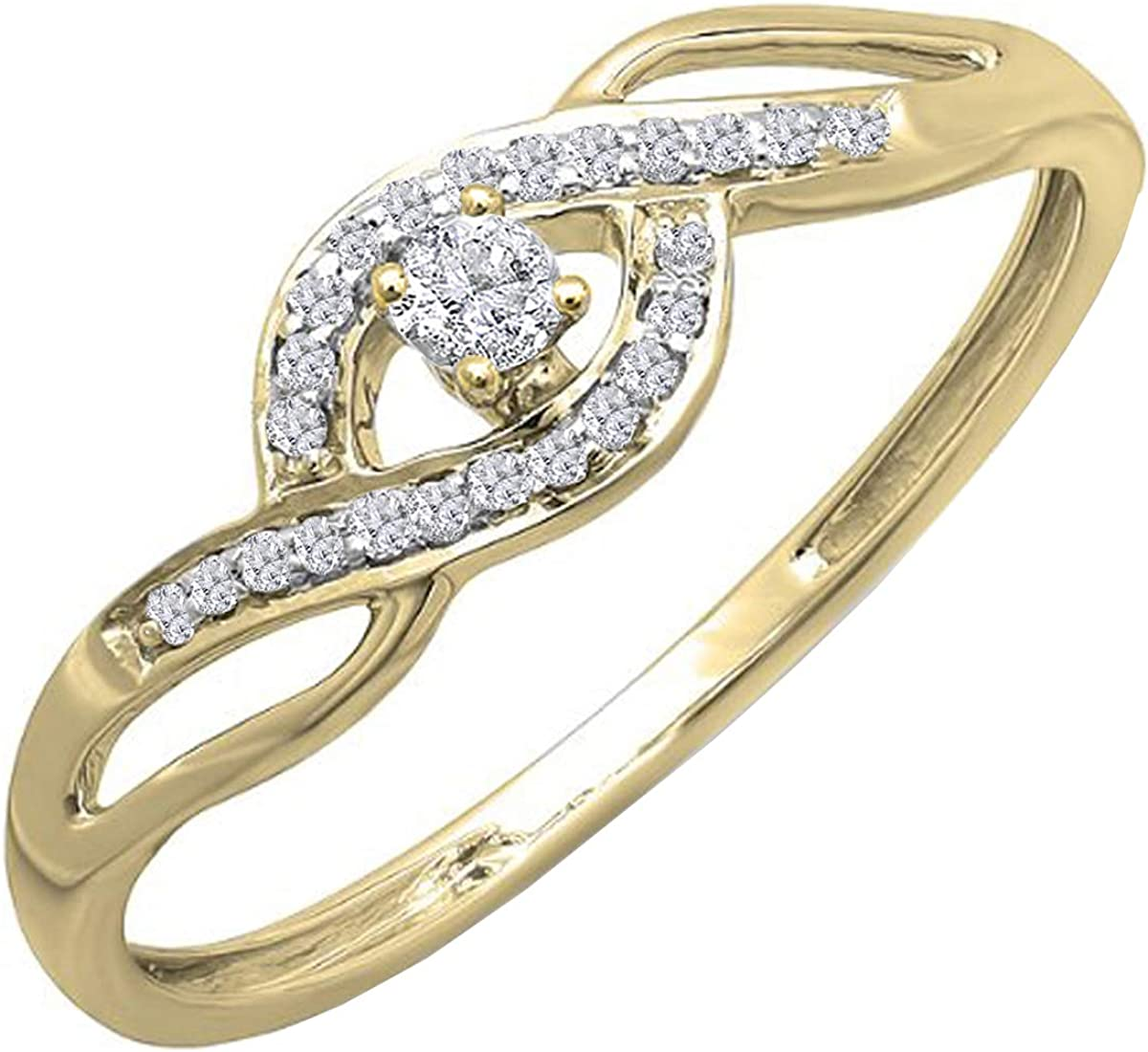 Dazzlingrock Collection 0.15 Carat (ctw) 18k Gold Round Cut Diamond Ladies Engagement Bridal Promise Ring