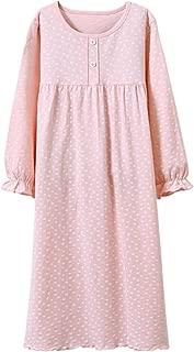 Girls' Princess Nightgowns Heart Print Sleep Shirts Cotton Sleepwear for 3-12 Years