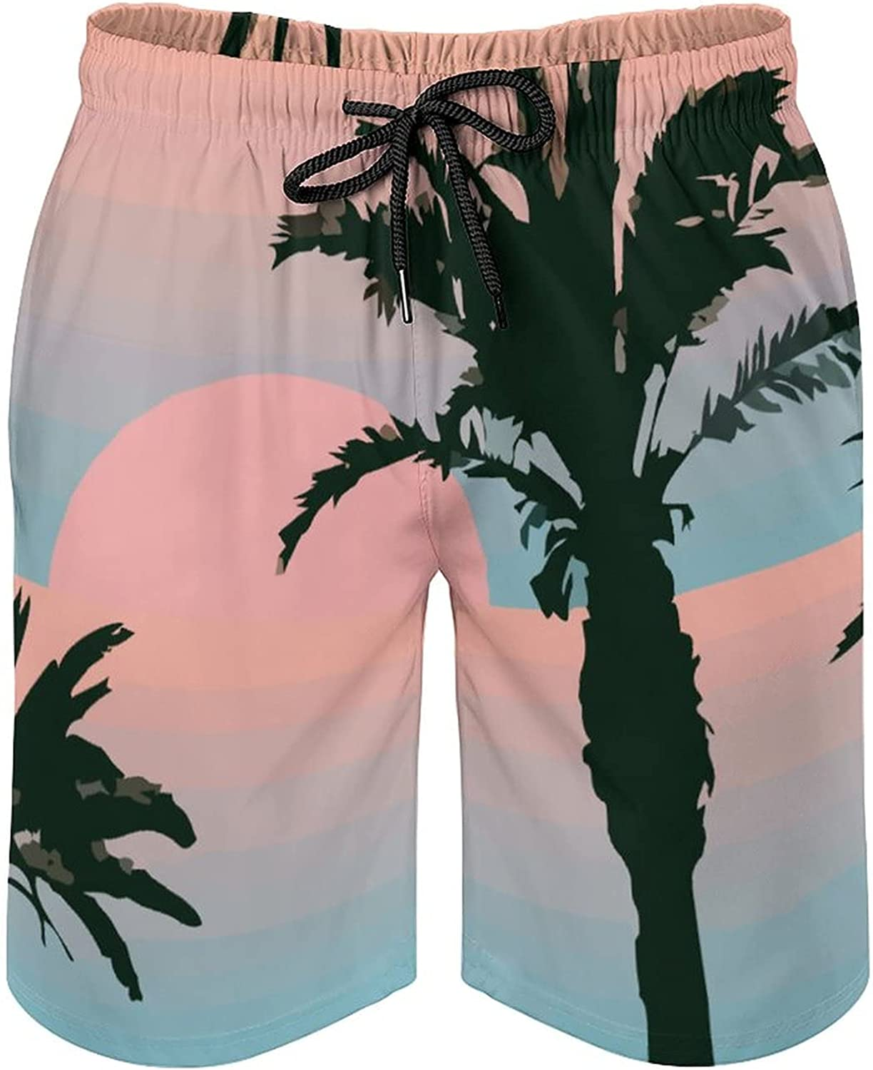 Men's Quick Dry Board Shorts with Mesh Lining Palm Tree Ocean