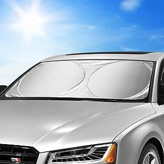 KKTICK Windshield Sun Shade Foldable, Car Front Window Sun Shade, Sun Reflector for Car Windshield Visor Sun UV Blocks - Keeps Your Car Cooler (Large 63 x 33 inches)