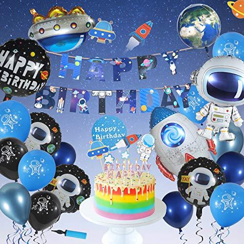 Ulikey Weltraum Geburtstag Dekoration, Geburtstag Dekoration Party, Happy Birthday Banner Geburtstagsdeko Astronauten Raketen Folienballon UFO Weltraum Kuchen Topper für Mädchen und Jungen