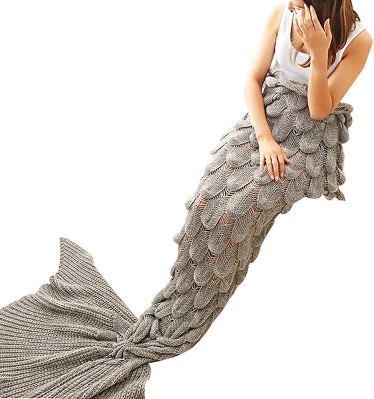 YMYGO 180X80Cm Soft Knitted Mermaid Tail Blanket Crochet Handmade Sleeping Bag for Kids Adult Women All Season Birthday New Year Gift