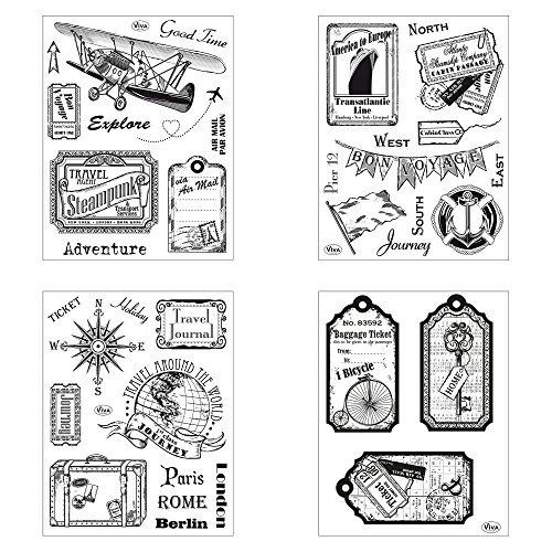 Clear Stamps 4er Set (Travel I) - Silikon-Stempel, Transparente Clear-Stamps, Wiederverwendbar & Anlass vorsortiert von Viva Decor