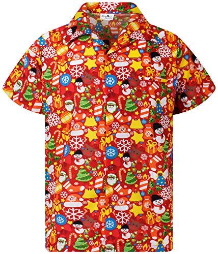 Funky Camisa Hawaiana, Manga Corta, Navidad, Christmas Allover, Rojo, 2XL