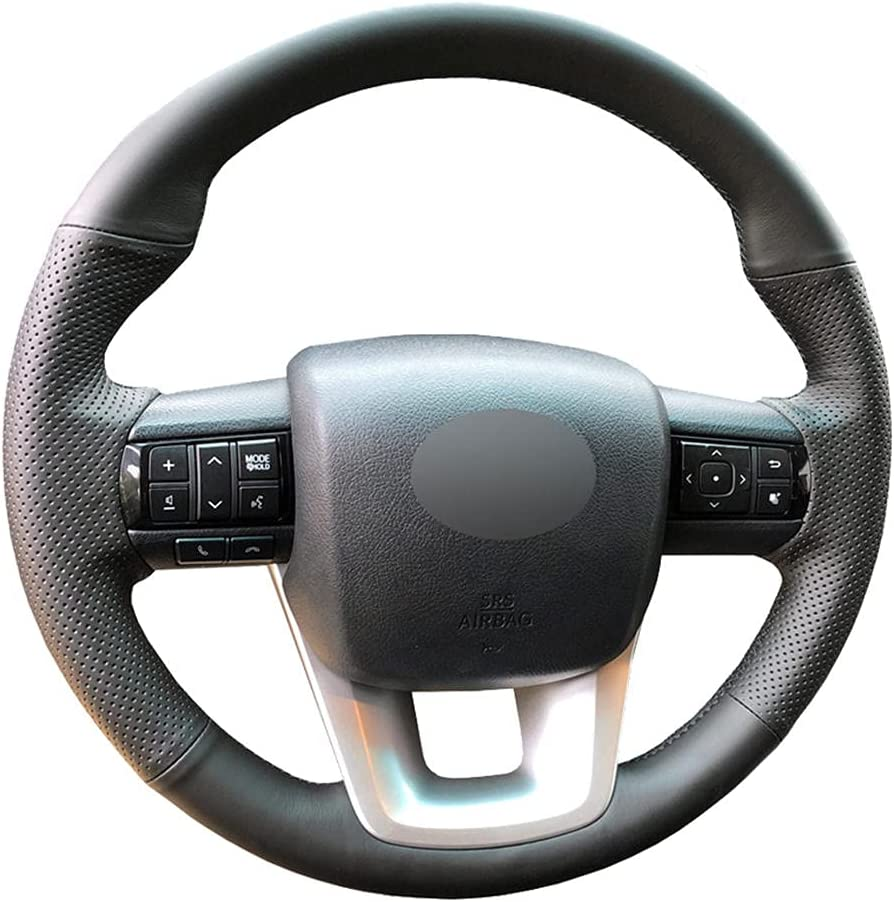 KDABJD Hand-Sewn Steering Ranking TOP2 Wheel Cover for Artificial Max 54% OFF L Black Car