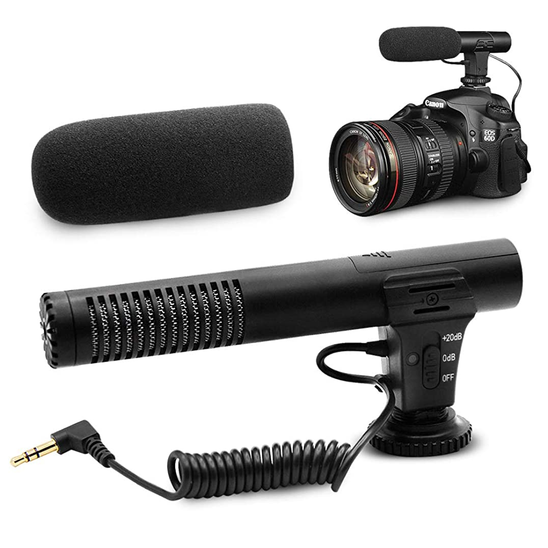 カメラマイク Ploture 外付けマイク一眼レフ対応 指向性コンデンサーマイク D-SLR 録音用マイク 単一指向性 3.5mmデジタルビデオ録音用マイクNikon Canon(日本語説明書付き)