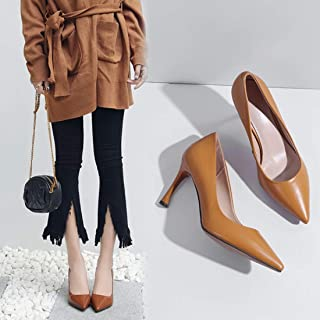 LUKEEXIN Ladies Genuine Leather High Heels Pointed Toe Stiletto Women Shoes
