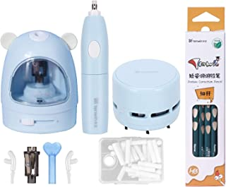 tenwin Electric Pencil Sharpener Eraser Vacuum Cleaner Set Stationery Set Battery Operated with 50 Eraser Refills for Kids...