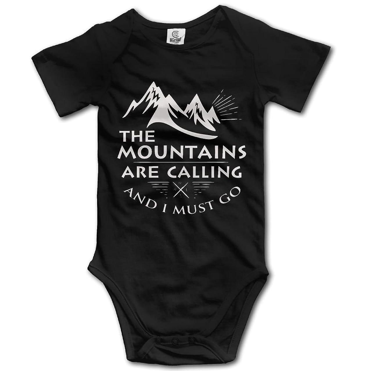 The Mountains are Calling Baby Infant Bodysuit - Short Sleeve Onesie Romper Black