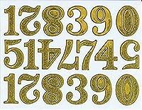 (シャシャン)XIAXIN 防水 ラメ PVC製 数字 ナンバー ステッカー セット 耐候 耐水 ローマ字 キャラクター 表札 スーツケース ネームプレート ロッカー 屋内外 兼用 TSS-600 (ゴールド)