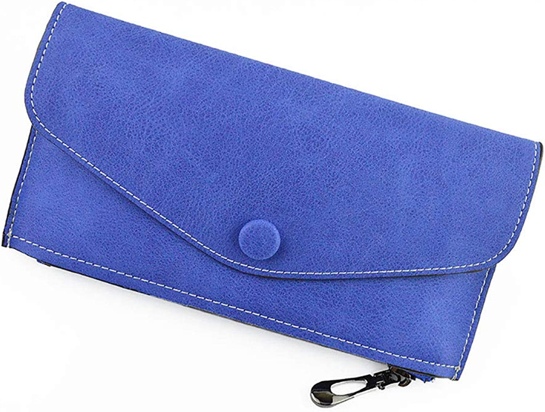 Women's Wallet Long Wallet, Matte Leather Simple Multicolord Leather Sand Gravel Envelope Ladies Purse Coin Purse