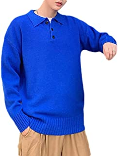 UUYUK Men Casual Solid Knit Long Sleeve Loose Fit Polo Sweater