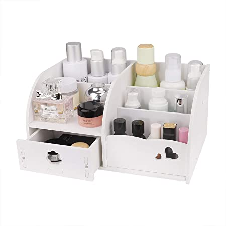Organisateur de Maquillage Support Cosmétique avec 6 Compartiments et Tiroir Boîte de Rangement pour Bureau Une Commode Chambre Salle de Bains