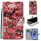 Miagon PU Cuir Coque pour Huawei Mate 30 Lite,Coloré Motif Portefeuille Étui Housse Cover avec Stand Support Porte-Cartes de Crédit,Rose Fleur