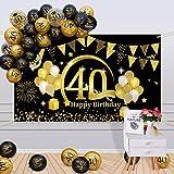 APERIL 40 Años Decoración de Cumpleaños Oro Negro, Globos de Cumpleaños Hombre Mujer, Póster de Tela Globos Negros Oro Globos de Confeti para 40 Feliz Cumpleaños Pancarta de Fondo 40 Cumpleaños