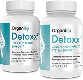 Organixx - Detoxx Cleanse for Kidney, Colon and Liver Support - 2 Step System with Burdock Root - Constipation Relief - Belly Fat Burner (60 Capsules Per Bottle)