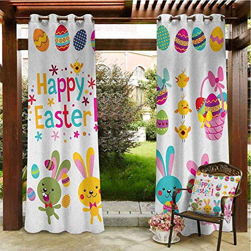 Easter Outdoor Privacy Curtain for Pergola Spring Season Holiday Themed Colorful Cartoon Bunnies Chicks and Eggs Illustration for Patio Waterproof 108x96 INCH,Multicolor