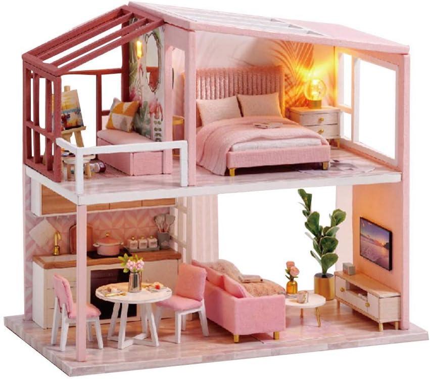 Meisje Educatief Speelgoed Verjaardagscadeau DIY Miniatuur Poppenhuis Stofdicht LED Gebouw Model Educatief Kinderen Speelgoed A * C*
