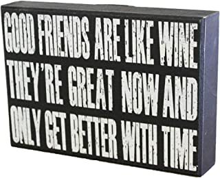 JennyGems Wine Signs, Best Friends, Good Friends Are Like Wine They're Great Now And Only Get Better With Time - Friendship Gift Wood Sign, Wine Quotes, Wine Gifts Accessory, Wine Enthusiast