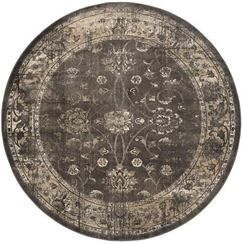Safavieh Vintage Inspirierter Teppich, VTG117, Gewebter Weiche Viskose-Faser Teppich Runde, Licht Anthrazit, 182 x 182 cm