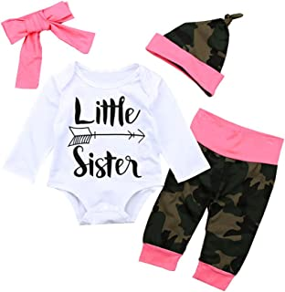 OUTGLE Newborn Baby Girl Little Sister Romper + Camouflage Trousers + Headband + Hat Clothing Set Autumn Outfits