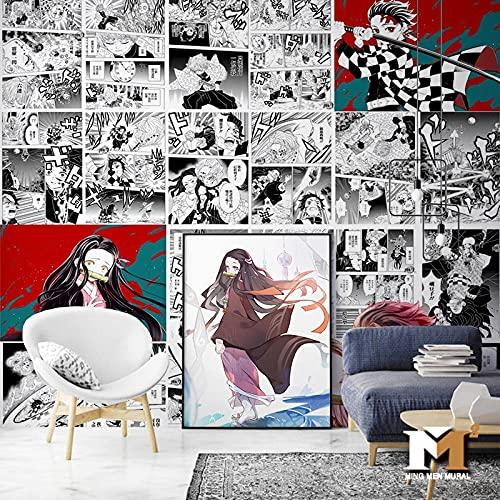 Dibujos Animados Anime Demon Slayer Papel Tapiz Dormitorio Habitación De Los Niños Fondo Revestimiento De Paredes Estilo Japonés Papel Tapiz Manga En Blanco Y Negro