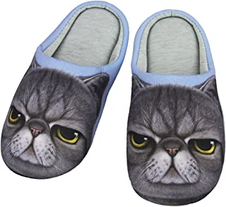 Indoor Cartoon Slippers for Women&Men, Cute Animal Winter Warm Soft Plush Cotton Slip-on Home Slippers Thermal Fleece Scuff Mules Non-Slip Rubber Sole Shoes