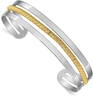 925 Sterling Silver Rhodium-plated and Gold-Flashed Bar Cuff Bangle Bracelet