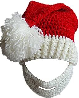 Kafeimali Unisex Christmas Winter Knitted Crochet Beanie Santa Hat with Beard Foldaway Bearded Caps