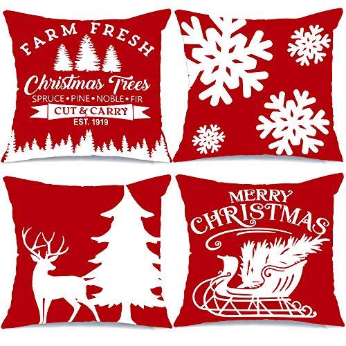 AENEY Farmhouse Christmas Pillow Covers 18x18 Set of 4 Red for Christmas Decor Christmas Tree Farm Sign Deer Snow Throw Pillows Christmas Decorations Decorative Red Throw Pillow Covers