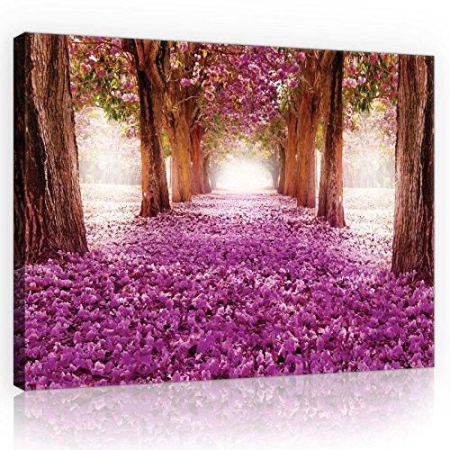 ForWall Bilder Canvas Lila Blumen Gasse - O1 (100cm. x 75cm.) Leinwandbilder Wandbild AMFPP10236O1
