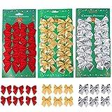 meioro 36pcs Noeud de Ruban de Noël Ornements Mini Bowknot Décorations Noël arc de Noel Noeud Papillon Rouge décoration de sapin de Noël décoration de Noël Intérieur (Rouge + Or + Argent, 36pcs)