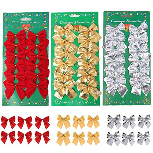 meioro Weihnachtsbögen Ornamente für Weihnachtsbaum Bänder Glitzer Bogen, Mini Bowknot Weihnachtsbaum hängende Dekorationen, Party Home Kränze Geschenkverpackungszubehör (36pcs, Rot + Silber + Gold)