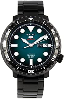 5 Sports 100m Automatic 'Bottle Cap' Steel Black Ip Turquoise Dial Watch SRPC65K1
