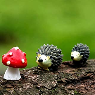 Danmu Resin Mini Hedgehogs and Mushroom, Miniature Figurines, Fairy Garden Accessories, Fairy Garden Supplies, Fairy Garden Animals for Fairy Garden, Micro Landscape, Plant Pots, Bonsai Craft Decor